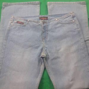 it. jeans Faded Wash Bandless Waist USA Sz 11 Wide